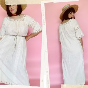 Vtg 70s India Cotton Eyelet Bell Sleeve Maxi Dress
